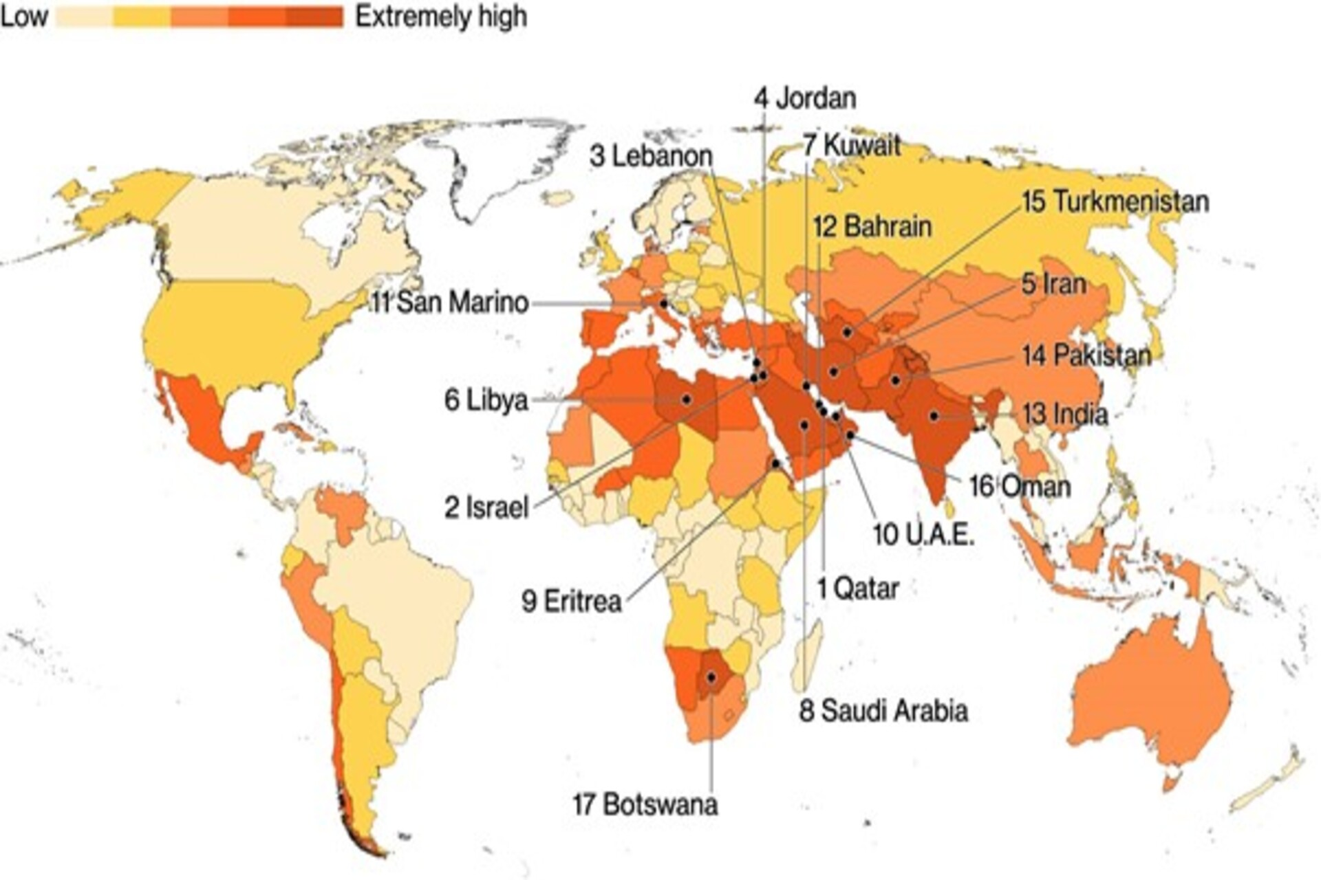 Global water scarcity map